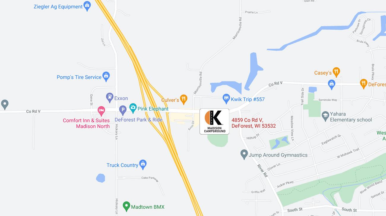 Madison Campground Google Map